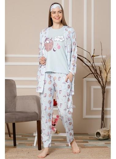 Akbeniz Kadın Mavi Renk Pamuklu Cepli 3'Lü Pijama Takım 1111 Mavi